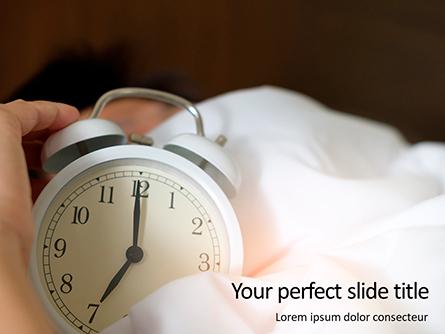 Hand Under Blanket Reaching Out for Alarm Clock Presentation Presentation Template, Master Slide