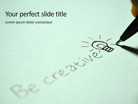 A Person's Hand Writing on Paper Be Creative Presentation Presentation Template, Master Slide