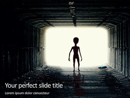 Spooky Silhouette of Alien in Tunnel Presentation Presentation Template, Master Slide