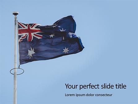 Australian Flag Waving on the Wind Presentation Presentation Template, Master Slide