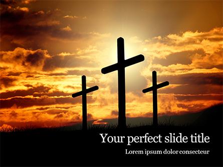 Three Crosses On Hill Presentation Presentation Template, Master Slide