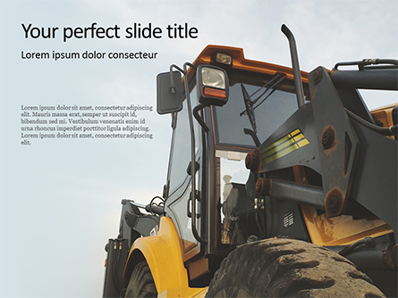 Yellow Excavator Close-up Front Side View Presentation Presentation Template, Master Slide