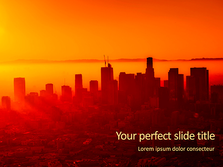 Urban Sunset Skyline Presentation Presentation Template, Master Slide