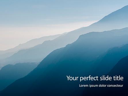 Panoramic Mountains in Blue Mist Presentation Presentation Template, Master Slide