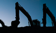 Three Excavators Work on Construction Site at Sunset Presentation Presentation Template