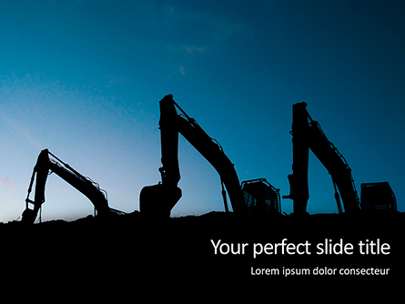 Three Excavators Work on Construction Site at Sunset Presentation Presentation Template, Master Slide