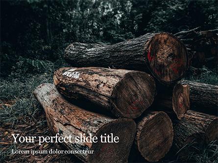 Pile of Wood Logs Presentation Presentation Template, Master Slide