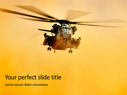 Helicopter in Yellow Sky Presentation Presentation Template, Master Slide