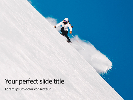 Skier Skiing Downhill During Sunny Day in High Mountains Presentation Presentation Template, Master Slide
