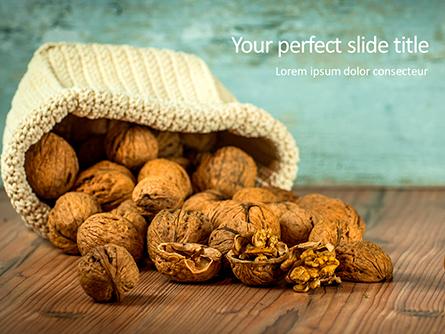 Walnuts Scattered from Burlap Bag on Wooden Table Presentation Presentation Template, Master Slide