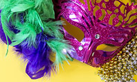 Festive Mask with Decor on Yellow Background Presentation Presentation Template