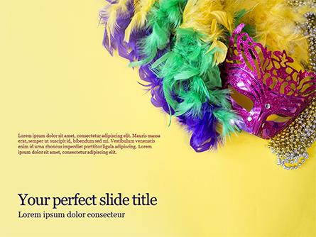 Festive Mask with Decor on Yellow Background Presentation Presentation Template, Master Slide