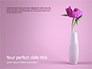 Purple Peony in Vase on Violet Background Presentation slide 1