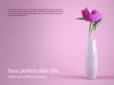 Purple Peony in Vase on Violet Background Presentation Presentation Template, Master Slide