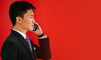 Man Holding Smartphone Wearing Black Notched-lapel Suit Jacket Presentation Presentation Template