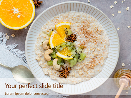 Oatmeal with Orange and Cashews Presentation Presentation Template, Master Slide