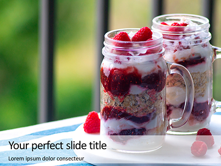 Overnight Oats with Raspberries in Jars Presentation Presentation Template, Master Slide