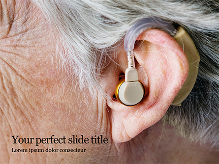 Elderly Person with Hearing Aids Presentation Presentation Template, Master Slide