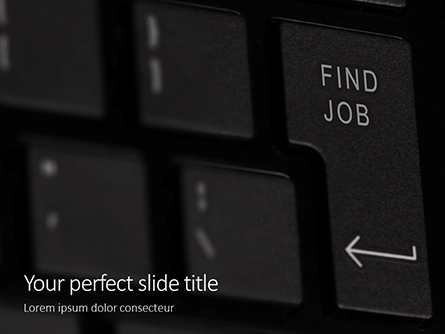 Find Job Button on black Keyboard Presentation Presentation Template, Master Slide