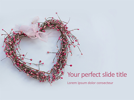 Heart Shaped Wreath Presentation Presentation Template, Master Slide