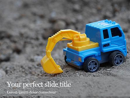 Toy Backhoe on the Sand Presentation Presentation Template, Master Slide