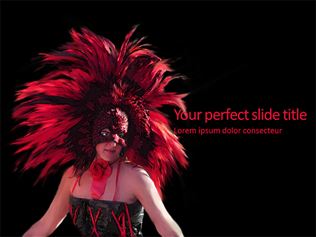 Beautiful Woman in Mardi Gras Mask and Makeup Presentation Presentation Template, Master Slide
