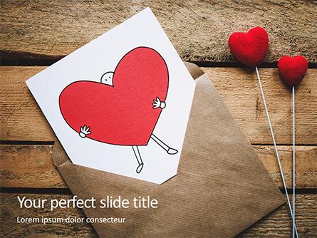 Love Letter Envelope with Red Heart on Wooden Table Presentation Presentation Template, Master Slide