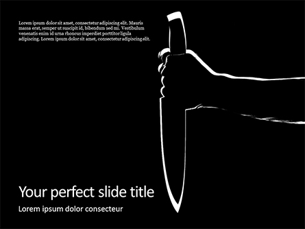 Silhouette of the Hand Holding a Big Sharp Knife Presentation Presentation Template, Master Slide