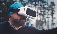 Man Uses a Virtual Reality Headset in the Forest Presentation Presentation Template