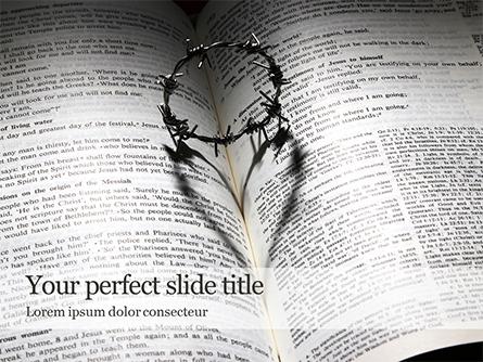 Crown of Thorns on Bible Presentation Presentation Template, Master Slide