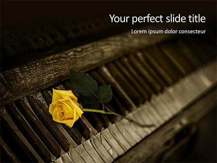 Yellow Rose on Piano Keys Presentation Presentation Template, Master Slide