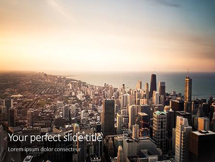 Chicago Downtown Aerial View Presentation Presentation Template, Master Slide