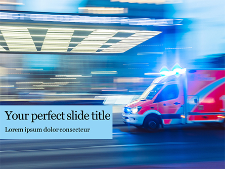 Ambulance Running with Lights and Sirens on a Street Presentation Presentation Template, Master Slide