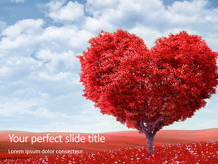 A Red Heart Shaped Tree Presentation Presentation Template, Master Slide