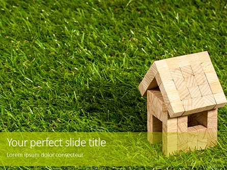 Toy Wooden House in the Grass Presentation Presentation Template, Master Slide