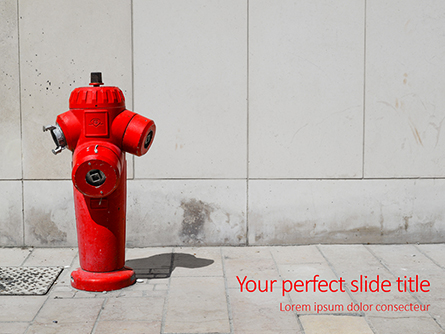 A Deep Red Fire Hydrant in Front of a Wall Presentation Presentation Template, Master Slide