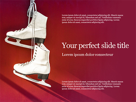 Hanged Pair of White Leather Figure Skates on Red Wall Presentation Presentation Template, Master Slide