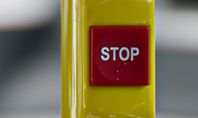 Red Stop Button in Public Transport Presentation Presentation Template