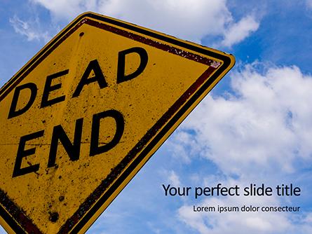 Dead End Sign Against Blue Cloudy Sky Presentation Presentation Template, Master Slide