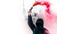 Pink Smoke Grenade Guy Presentation Presentation Template