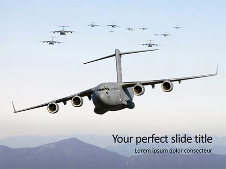 United States Air Force C-17 Globemaster in the Sky Presentation Presentation Template, Master Slide