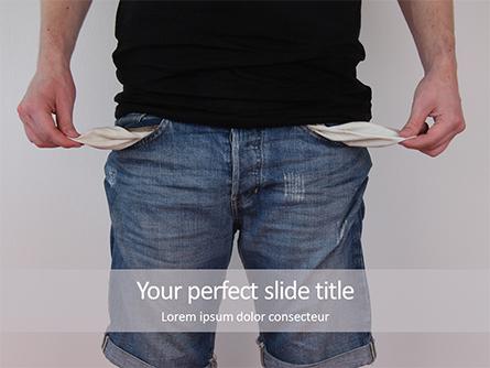 Poor Man in Jeans with Empty Pockets Presentation Presentation Template, Master Slide