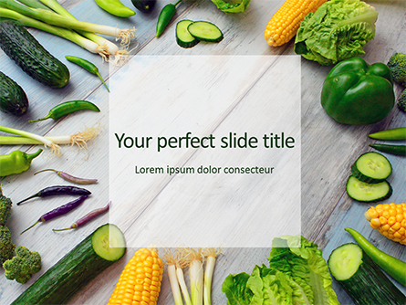 Frame of Green Organic Vegetables on Wooden Surface Presentation Presentation Template, Master Slide
