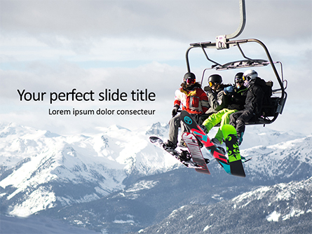 Skiing Friends on Chairlift Presentation Presentation Template, Master Slide