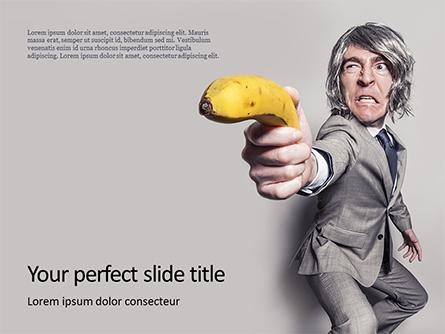 Man in a Suit Holding Banana Like a Gun Presentation Presentation Template, Master Slide