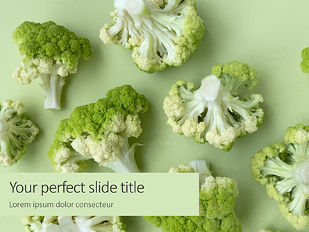 Broccoli on Green Background Presentation Presentation Template, Master Slide