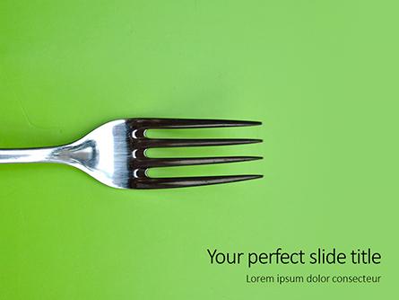Silver Fork on Green Background Presentation Presentation Template, Master Slide
