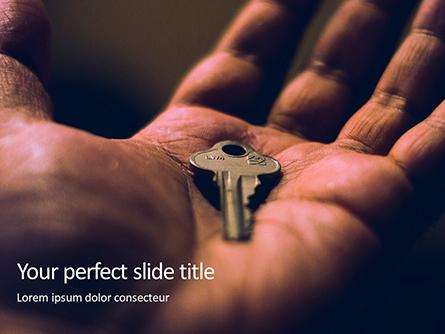 Key in Open Hand Palm Presentation Presentation Template, Master Slide