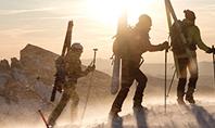 Three People Climbing with Skis Presentation Presentation Template