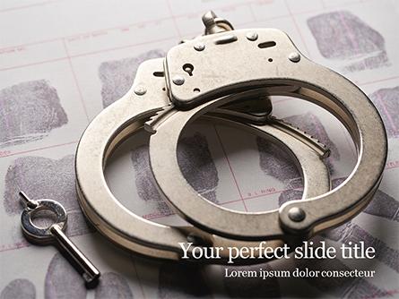Sliver Handcuffs Lying on Top of Fingerprint Sheets Presentation Presentation Template, Master Slide